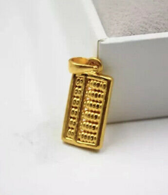 Pure 999 24K Yellow Gold Women's 3D Abacus Pendant 1.3-1.5g Free Shipping