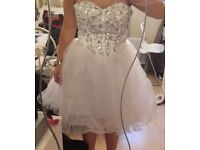 White crystaled prom dress
