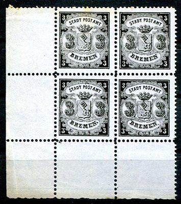 BREMEN 1866 11 im VIEERBLOCK ungummiert 600€++(E0606