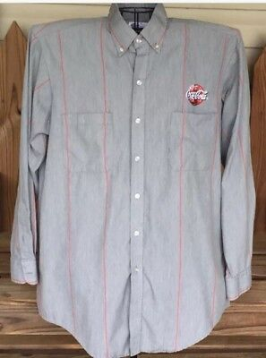 Vintage COCA COLA Coke Embroidered Logo Dress Shirt Gray Red Pin Striped XL *NEW