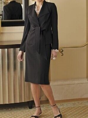 size 14 Tie Front Black Skirt Suit church business work by Midnight Velvet new