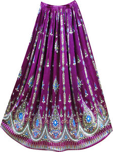 Bohemian Hippie Sequin Lengha Ghagra Belly Dance Indian Skirt Boho Gypsy Purple