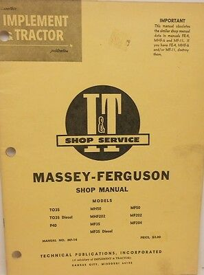 Massey-ferguson Shop Manualsee Description
