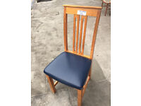 4 x Oak chairs - free local delivery with blue leather covers , feel free to view
