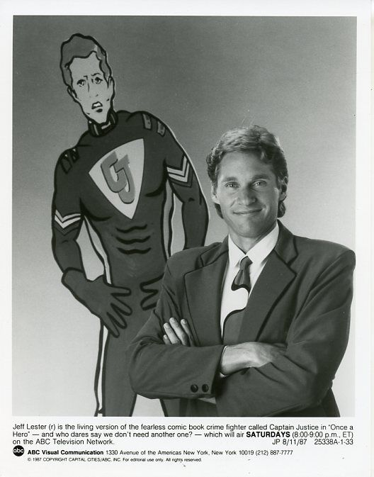Jeff lester captain justice smile portrait once a hero original '87 abc tv photo