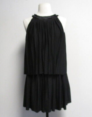 MOSCHINO teen black tiered pleated sleeveless dress sz 11 SO CUTE!