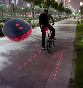 5-LED-2-Laser-Cycling-Bicycle-Bike-Red-Rear-Tail-light-Lamp-Waterproof-Flash