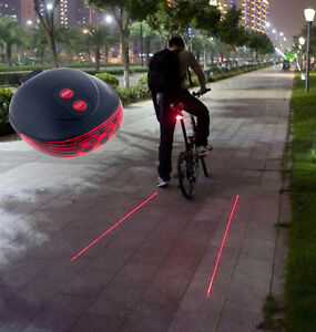 5-LED-2-Laser-Cycling-Bicycle-Bike-Red-Rear-Tail-light-Lamp-Waterproof-Flash-New