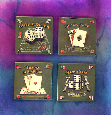 Western Lodge Cabin Decor Gambler's Gaming Magnet Refrigerator Magnet Set Of 4
