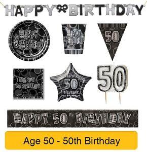 ANOS-50-50-Cumpleanos-Negro-amp-Plata-Glitz-globos-fiesta-banners-amp-decorations