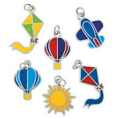 6 Enamel Charms Hot Air Balloon Airplane Kite Sun Crafts & Jewelry Boys ABCraft  - Hot Air Balloon Craft
