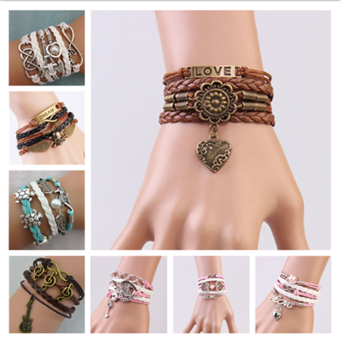 Bracelet - NEW Jewelry fashion Leather Cute Infinity Charm Bracelet Silver lots Style Pick