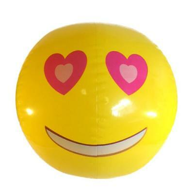 INFLATABLE BLOW UP SMILE LOVE HEART EYES EMOJI FACE BEACH BALL PROMOTIONAL GIFT
