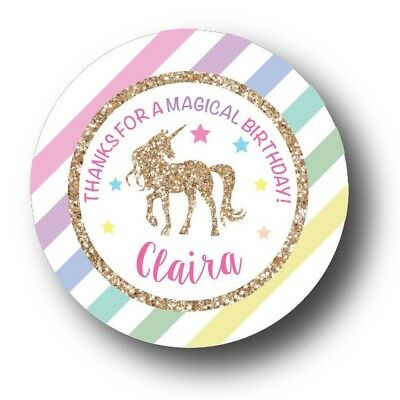 30 Unicorn Magical Personalized Birthday Party Favors Treat Bag Stickers (Personalized Party Favor Bags)