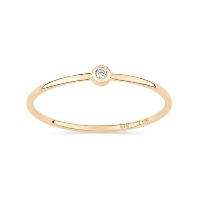 Ginette NY 14K Solid Gold & Diamond Solitaire Stacking Ring, Sz. 7, RRP $500