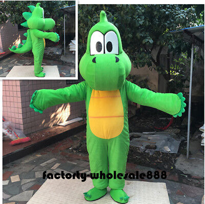 Halloween Yoshi Of Mario Dinosaur Green Mascot Costume Suits Cosplay Fancy Dress