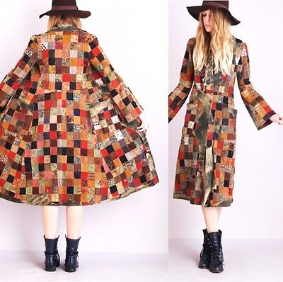 Vtg 70s HAND CRAFTED Tooled Paint Leather Patchwork BELL Slv Hippie Coat JACKET on Rummage