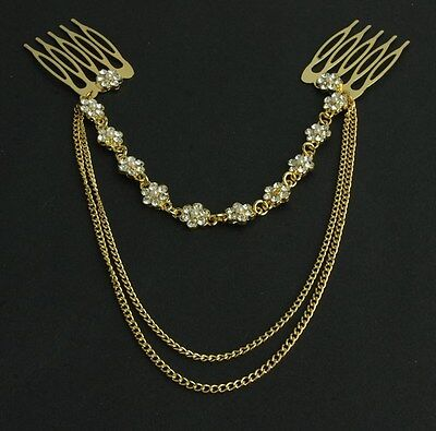 Women Alloy Rhinestone Head Chain Jewelry Headband Comb Piece Hair band party AK