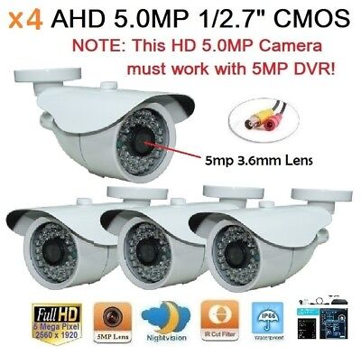 "x4 AHD 5.0MP 1/2.7"" 2560x1920 Waterproof In/outdoor Camera 36IR 5mp-3.6mm Lens"