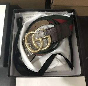 GUCCI GG Belt Cuir Green/Red Leather Nero