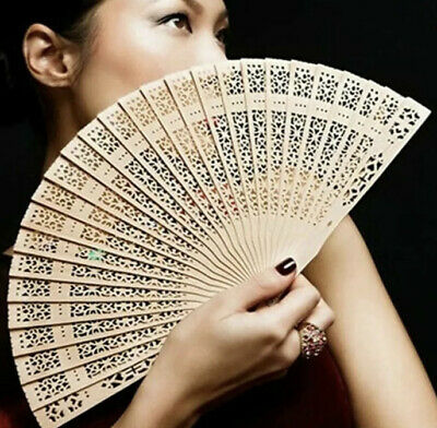 Ladies Wooden Hand Fan Wooden for Wedding Party Summer