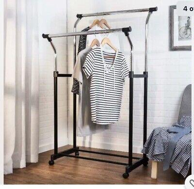 Honey-can-do Heavy Duty Double Hanging Garment Rack Blackchrome