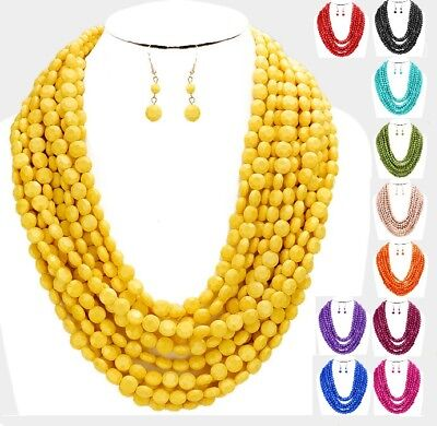 Statement Necklace Beaded Multi Strand Row Layered Chunky Necklace Seed Pearl #2