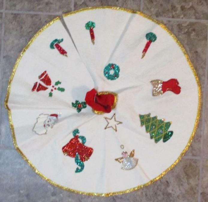 Vtg Complete Handmade Christmas Felt Tree Skirt Bead Sequin Applique Santa Angel