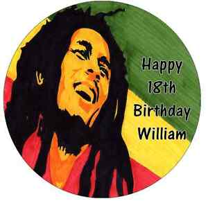Bob Marley Personalised Wafer Paper Topper For Large Cake Various Sizes 7.5