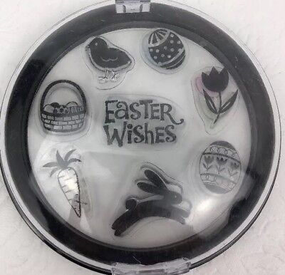 EASTER CLEAR RUBBER STAMPS BUNNY EGGS CARROT BASKET CHICK 🐣 IN CASE