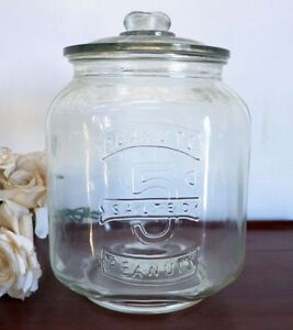 VERY-LARGE-VINTAGE-GLASS-PEANUT-JAR-SHOP-LOLLY-JAR-VERY-RETRO-CHIC-246y