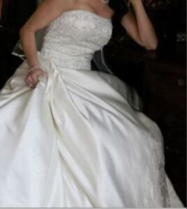 Stunning Off-White Wedding Dress + SHOES + VEIL + GLOVES + SHAWL