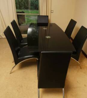Black Chrome glass top dining table $450 + other household goods Como South Perth Area Preview