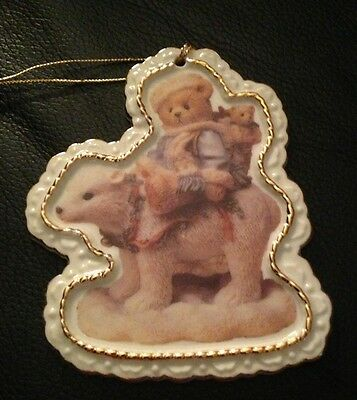 CHERISHED TEDDIES by Enesco Porcelain Hanging Ornament Bear Riding Polar Bear