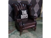 Stunning Chesterfield Queen Anne Wing Back Chair in Oxblood Leather - UK Delivery