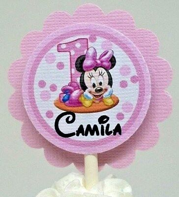 Baby Minnie Mouse 1st Birthday Pink Cupcake Topper's Personalized Free Set Of - Minnie Mouse 1st Birthday Cupcake Toppers