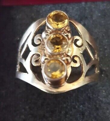 Silver Ring With 3 Citrine Stones Size R1/2