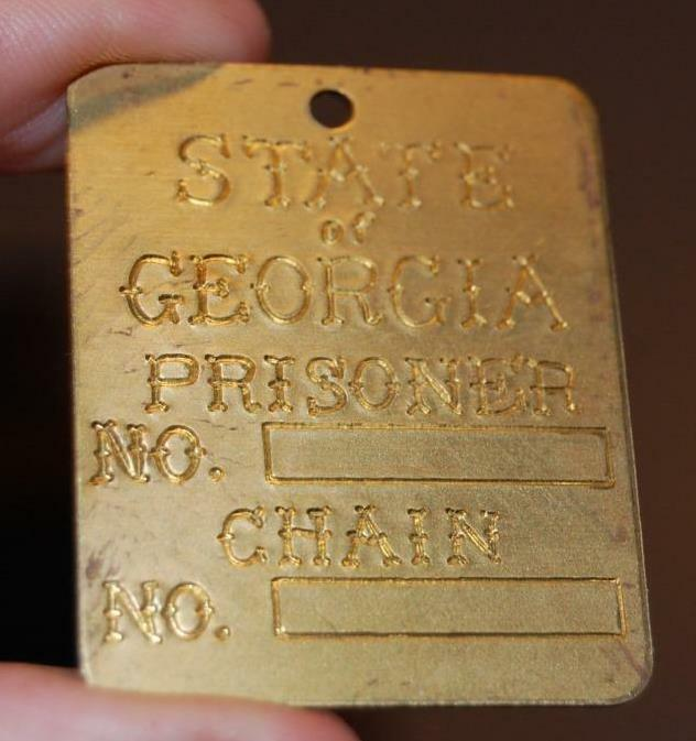 RARE NOS VINTAGE STATE OF GEORGIA PRISONER BRASS CHAIN GANG JAIL TAG SOUVENIR #1