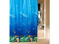 Shower Curtain - Dolphins & Tropical Fish - Blue