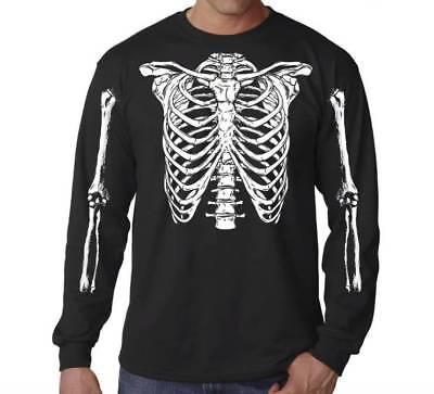 Skeleton Ribs T-Shirt Cage Skeleton T-Shirt Horror Halloween Geekery Costume Par](Skeleton T Shirt Costume)