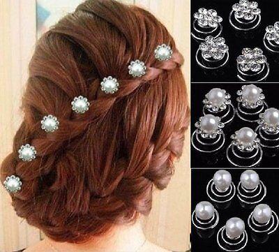 Set 10 Curlies Haarspiralen Braut Hochzeit Kommunion Haarnadeln Haarschmuck NEU