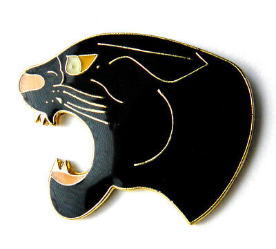 PANTHER HEAD BLACK ROARING WILDCAT CAT ANIMAL LAPEL PIN BADGE 1 INCH