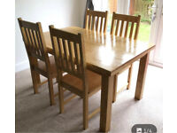 Oak effect table + 4 chairs