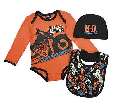 Harley-Davidson Infant Boys Orange 3-Piece Creeper, Cap & Bib Set 2553905  Harley Boys 3 Piece