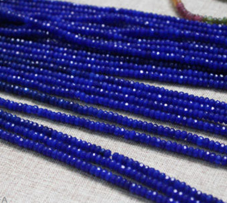 """2x4mm Natural Faceted Dark Blue Sapphire Rondelle Gemstone Loose Beads 15/"""" AAA"""