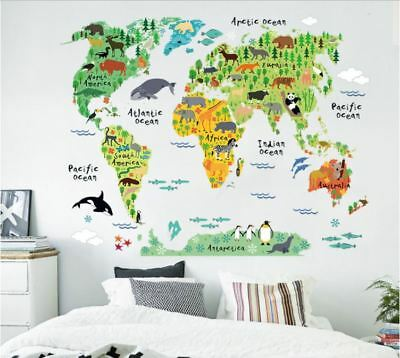 US STOCK Wall Sticker World Map Continent Kids Nursery Baby Children's Room -