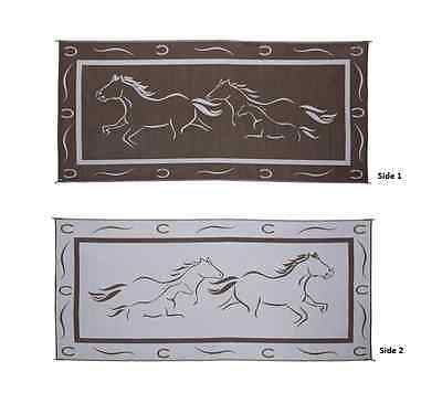 8' x 18' Patio Mat for RV / Camper / Motorhome / Trailer (Horse Design)