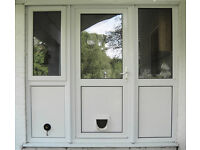 Double glazed external door and side panels 206cm wide x 195cm high.