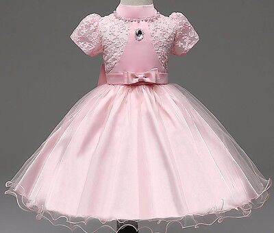 Girls Royal Bridesmaid Dress Kids Princess Wedding Summer Party Flower Bow  ()