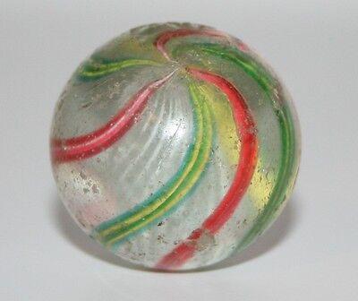 große alte Glas Murmel, Latticino Core Swirl Marble , handarbeit, ca. 1900